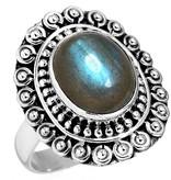 labradoriet ring, sterling zilver, groot model, voordeelactie