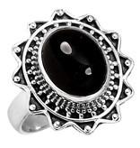 zwarte onyx ring, sterling zilver, groot model, voordeelactie