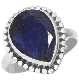 blauwe saffier ring, sterling zilver, groot model druppelvorm