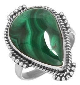 prachtige ring malachiet, sterling zilver, groot model druppelvorm