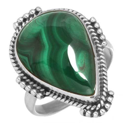 prachtige ring malachiet, sterling zilver, groot model druppelvorm, voordeelactie