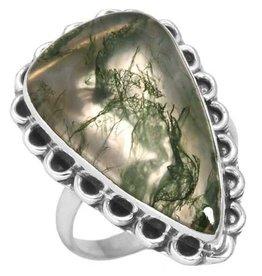 prachtige mosagaat ring, sterling zilver, groot model druppelvorm
