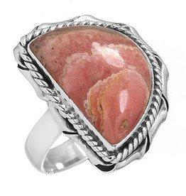 prachtige rhodochrosiet ring, sterling zilver, groot model halve ovaal