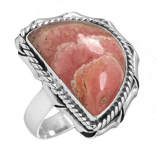prachtige rhodochrosiet ring, groot model halve ovaal, sterling zilver, voordeelactie