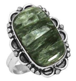 edelsteen ring serapheniet, sterling zilver, groot model rechthoek