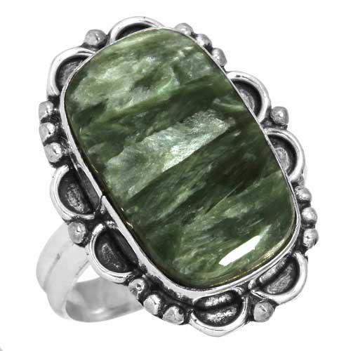 edelsteen ring serapheniet, sterling zilver, groot model rechthoek, voordeelactie