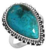 schitterende chrysocolla ring, sterling zilver, groot model, voordeelactie