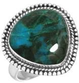 schitterende chrysocolla ring, sterling zilver, groot model brede druppel, voordeelactie