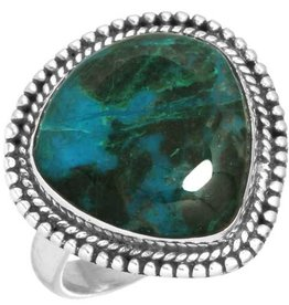 schitterende chrysocolla ring, sterling zilver, groot model brede druppel