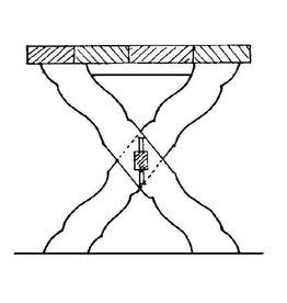 NVM 40.33.008 rechthoekige tafel met kruispoten