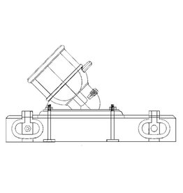 NVM 40.45.022 buskruit proefmortier op blok, kogel en hulpwerktuigen