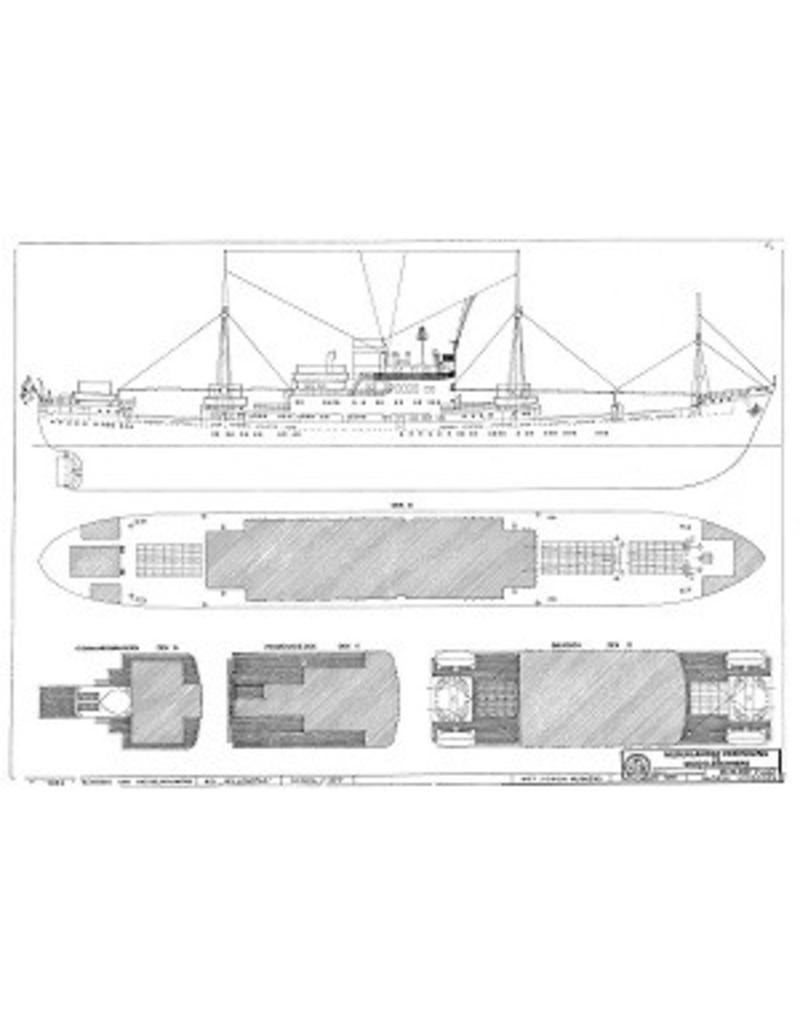 """NVM 10.10.020 vracht-passagiersschip ms """"Willemstad"""" (1950) ex """"Socrates""""(1938)- KNSM"""