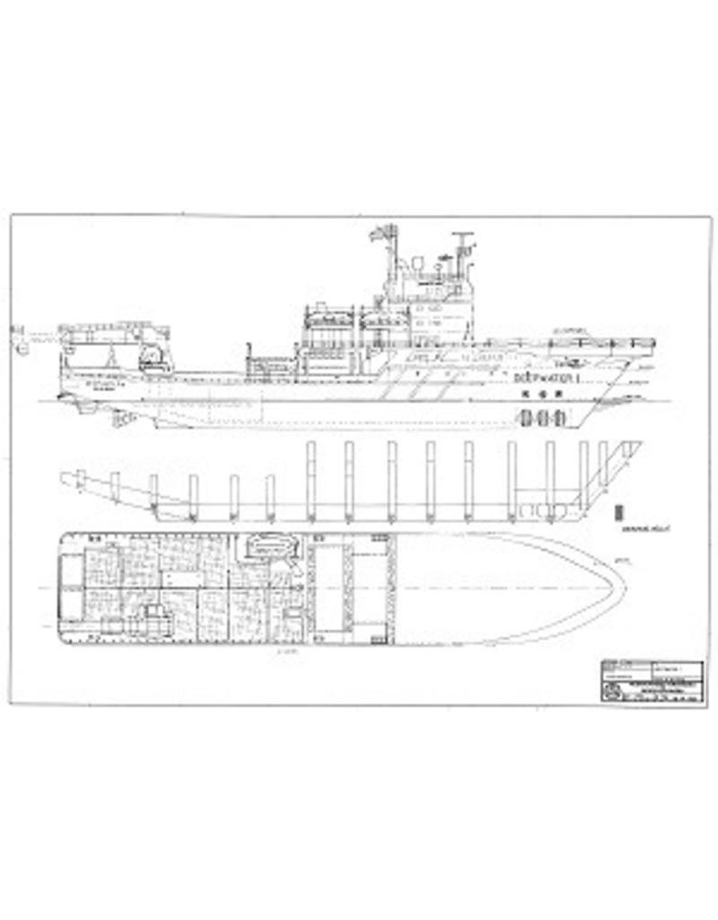 """NVM 10.14.053 duikmoederschip ms """"Deepwater 1"""" (1983) - Deep Marine Service; """"Deepwater 2"""""""