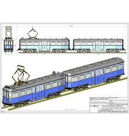 """NVM 20.73.041/B NZH motorrijtuig A 502 en aanhangrijtuig B 501 (Blauwe tram) voor 2,5"""" spoor"""