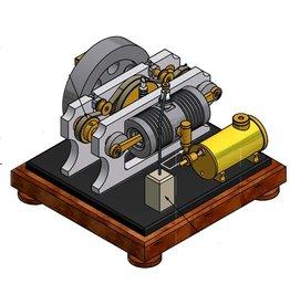 NVM 60.10.023 1-Cilinder duo 4-takt motor met tegengestelde zuigers, metalen cilinder en roterende klep