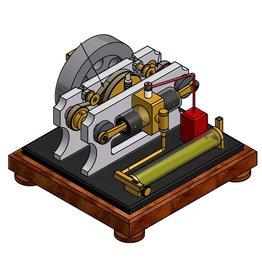 NVM 60.10.024 1-cilinder 4-takt motor met glazen cilinder en twee tegengestelde zuigers