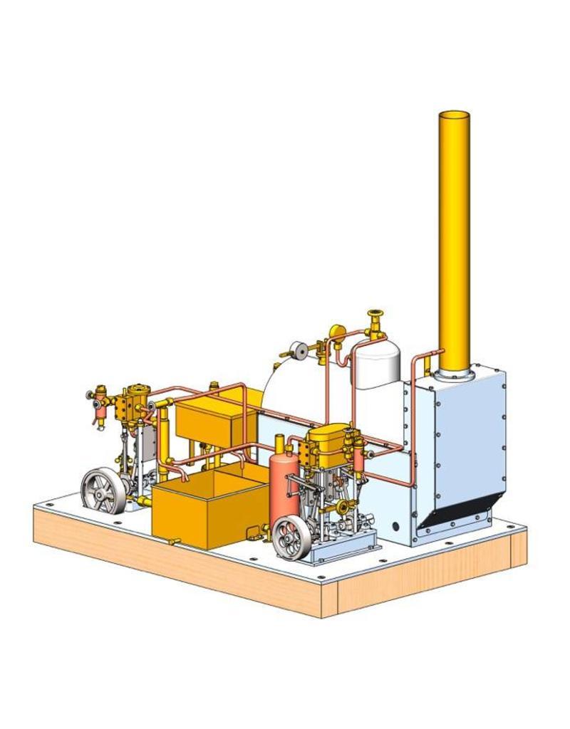 NVM 60.01.008/B CD - stoominstallatie met 2 vertikale machines, ketel en hulpwerktuigen