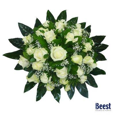Biedermeier witte rozen en gipskruid