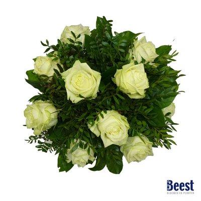 Boeket witte rozen grootbloemig