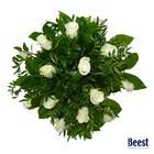 Boeket witte rozen met groen
