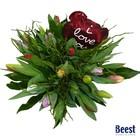 Boeket tulpen gemengd met hartje