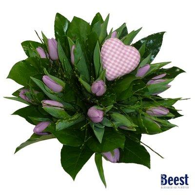 Tulpenboeket roze met hartje
