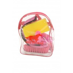 Red Horse Grooming Kit in Rugzak-Hot Pink
