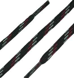Zwart-Grijs-Rood 150cm Ronde Outdoor Veters