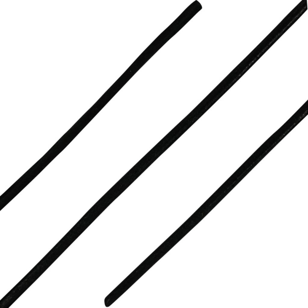 Ronde Leren Veters Zwart 100cm