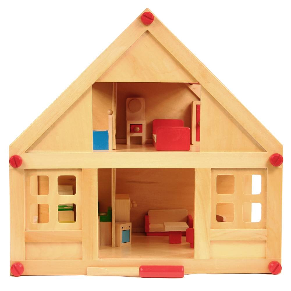 Gelakt houten poppenhuis
