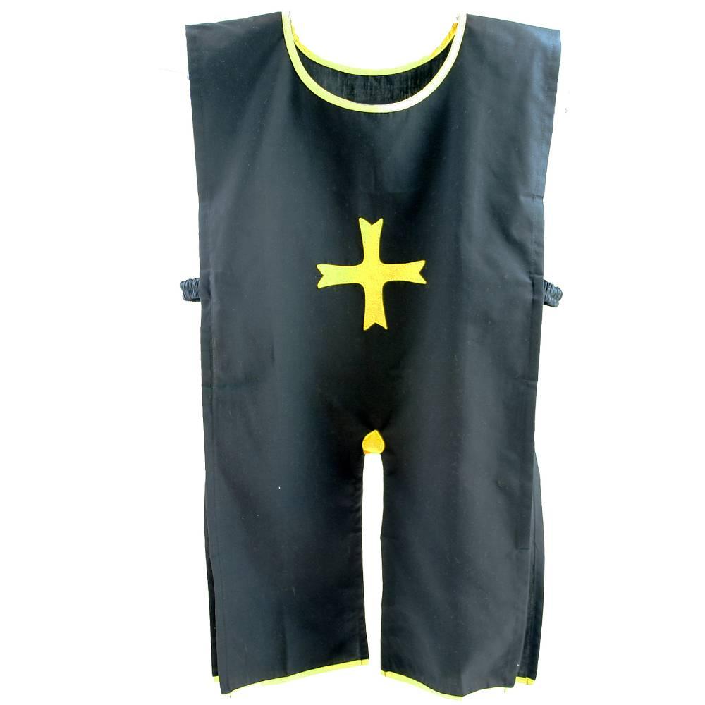 Ridder tuniek zwart met geel kruis