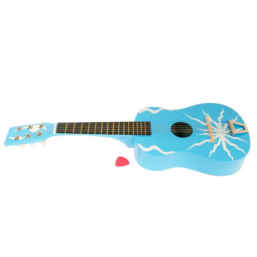 Blauwe houten gitaar met ster