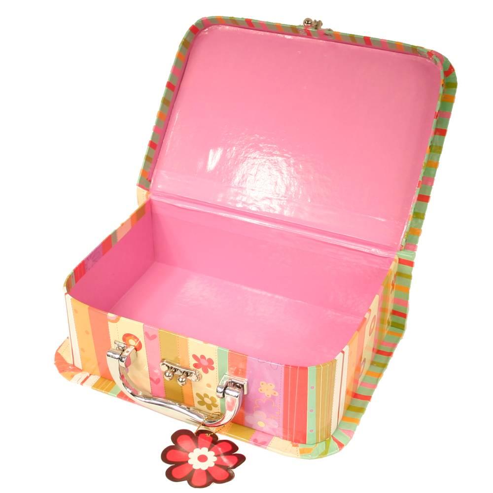 Koffertje oranje met bloemen en strepen