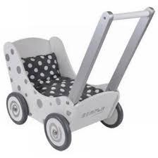 Simply for Kids Witte houten poppenwagen met zilveren stippen