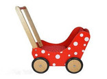 Simply for Kids poppenwagen rood hout met witte stippen