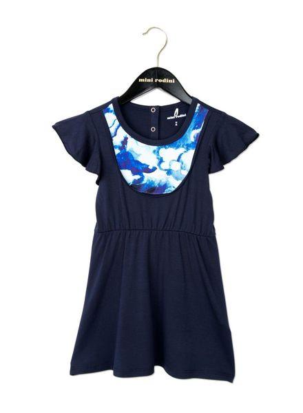 Mini Rodini Clouds AOP Bib Dress - Dark Blue