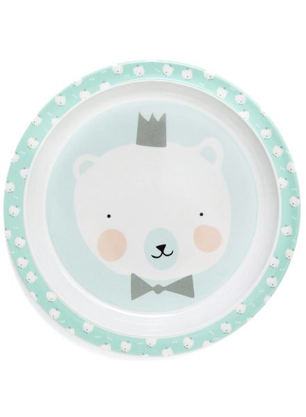 Petit Monkey Melamine plate polar bear mint