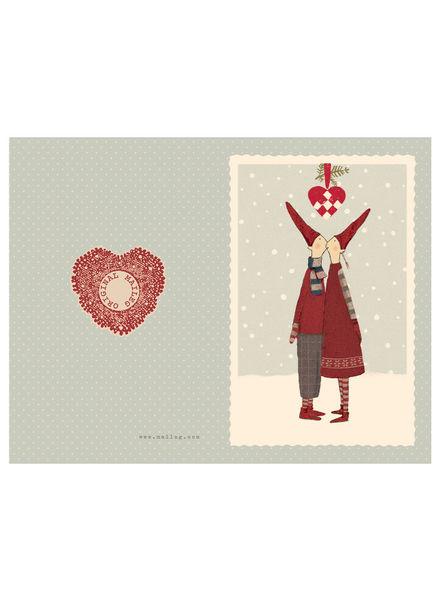 Maileg Pixy kiss - small double card Heart