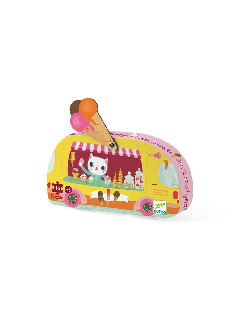 Djeco Silhouettenpuzzle - Ice cream Truck - 16 pcs