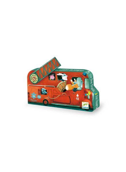 Djeco Silhouettenpuzzle - The fire truck - 16pcs