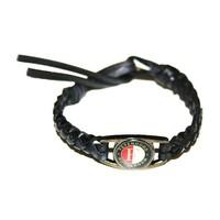 Armbandje feyenoord zwart leder classic logo