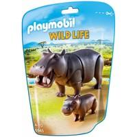 Nijlpaard met jong Playmobil