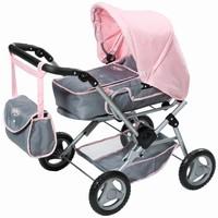 Poppenwagen deluxe Baby Born grijs/roze