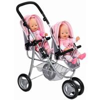 Tweeling Buggy Baby Born grijs/roze
