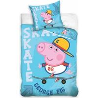 Dekbed Peppa Pig skate blauw: 140x200/70x80 cm