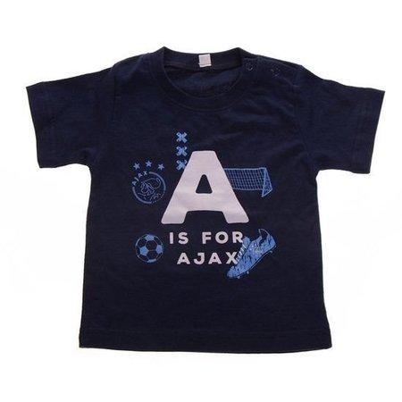 AJAX Amsterdam Baby t-shirt ajax blauw: A is for Ajax maat 50/56