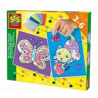 Mozaieksteentjes plakken SES kat/vlinder