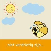 Wenskaart Woezel en Pip: niet verdrietig zijn
