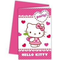 Uitnodigingen Hello Kitty: 6 stuks