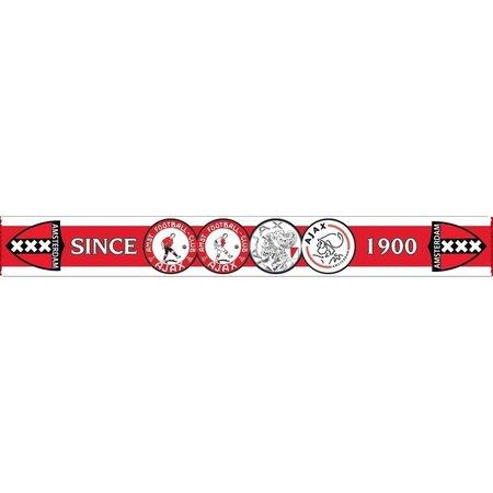 AJAX Amsterdam Ajax sjaal rood met wit 4-logo`s sinds 1900